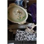 Box of costume jewellery & ceramics