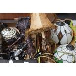 Box of Tiffany style lamps & pair of lamps