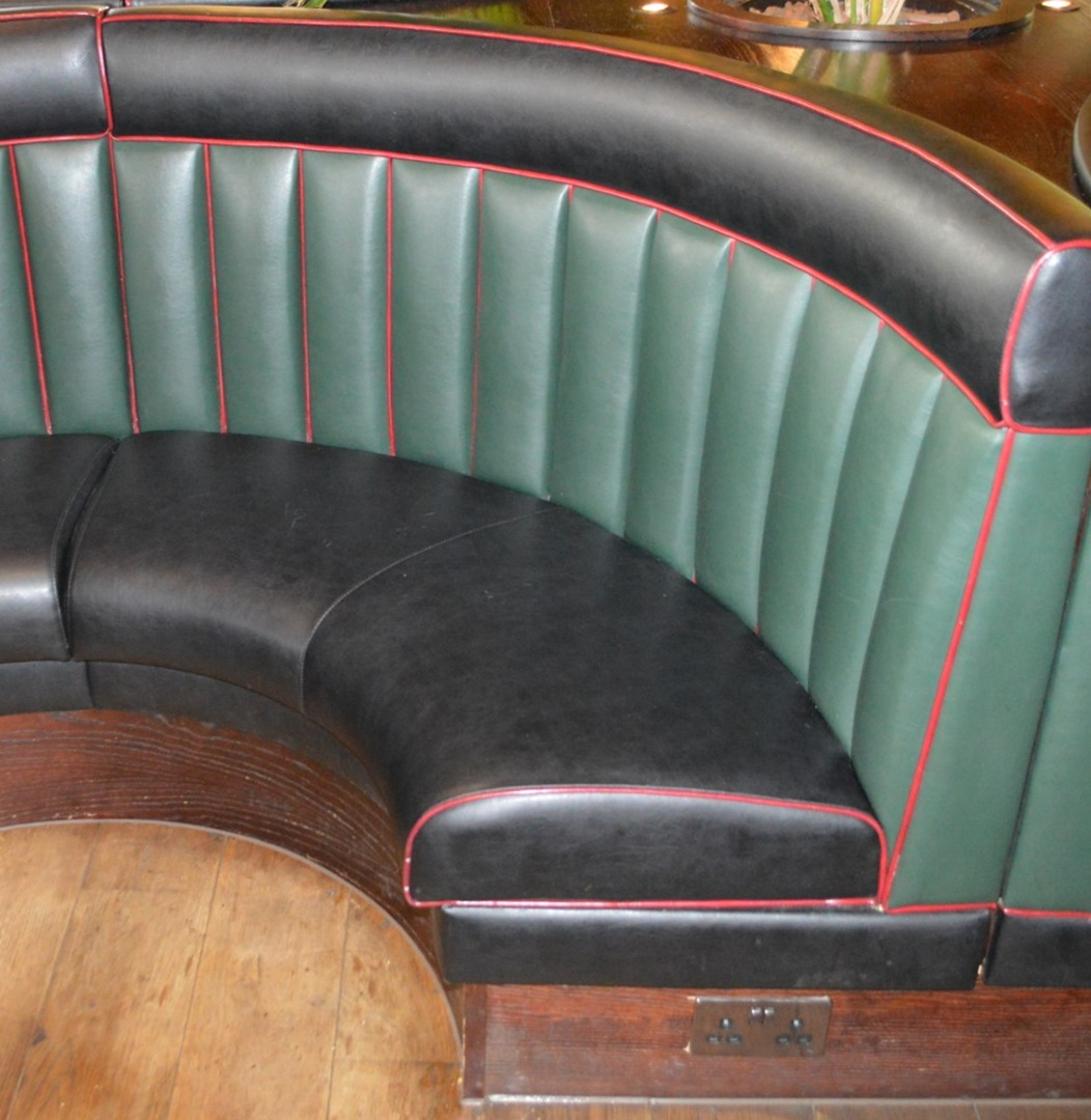 Lot 66 - 8 x Contemporary Half Circle Seating Booths Waitress Point and Wood Paneling - Features a Leather