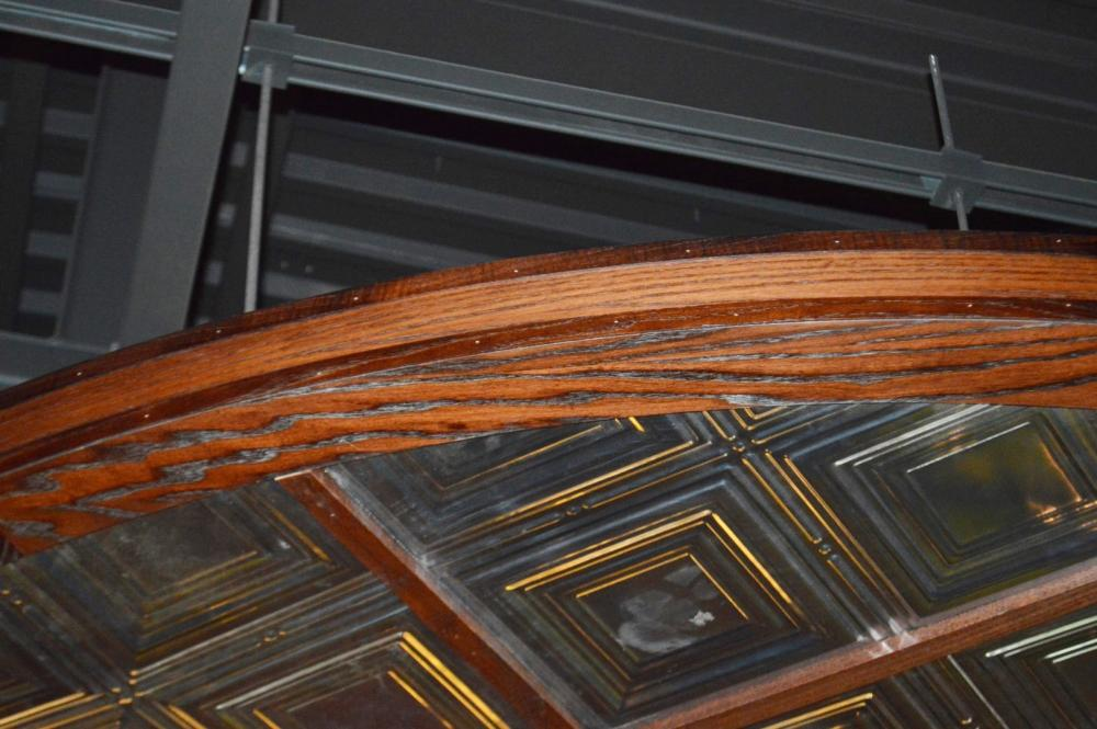 Lot 55 - 1 x Bespoke Suspended Round Ceiling Panel in Dark Wood With Glass Inserts - Approx 3 Meter