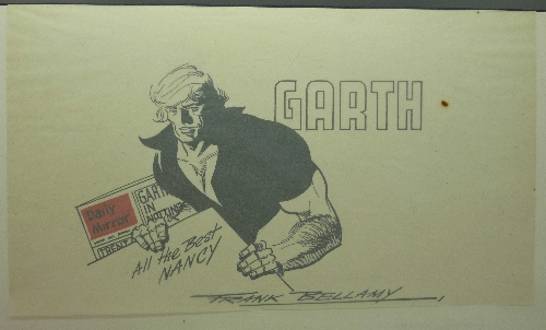 Lot 629 - Frank Bellamy (1917-1976), a pen and ink drawing, titled Garth, a comic strip drawing,