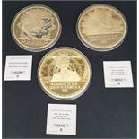 Collectable Coins 3 x Includes H.M. Queen Elizabeth II 100mm Coins
