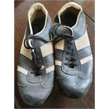 Vintage Retro Kitsch Leather Football Boots c1970's Blue & White UK Size 10