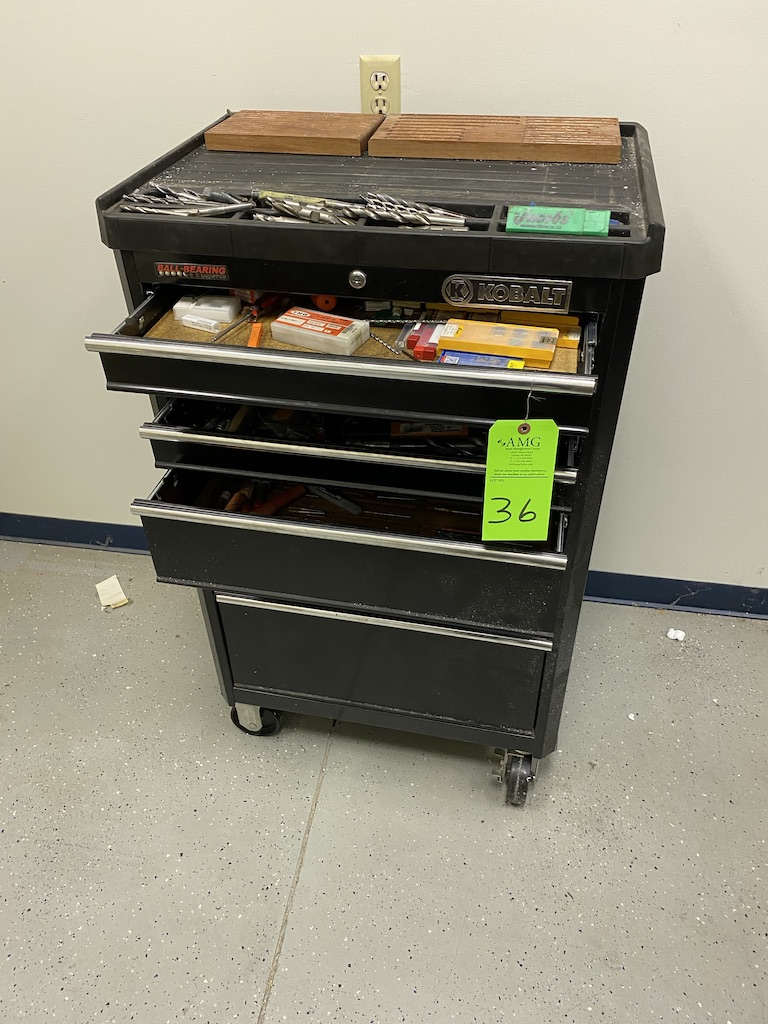 Lot 36 - kobalt rolling metal tool box and contents
