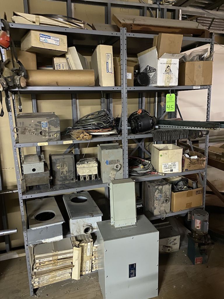 Lot 45 - Metal industrial shelving and contents