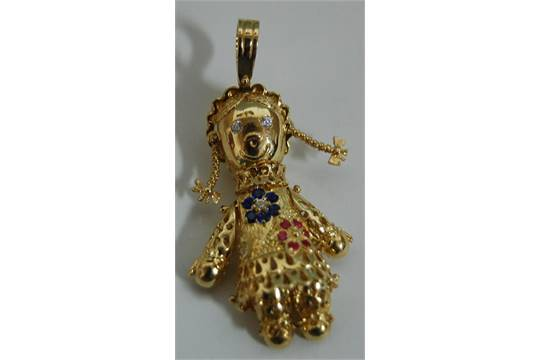 Gina stewart cox articulated 9ct gold and semi precious set rag gina stewart cox articulated 9ct gold and semi precious set rag doll pendant mozeypictures Images