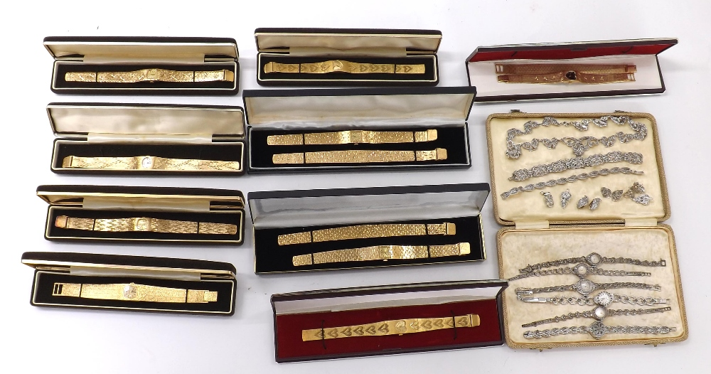 Lot 1908 - Three silver ladies bracelet watches to include Accurist and Ciro; together with three gold plated