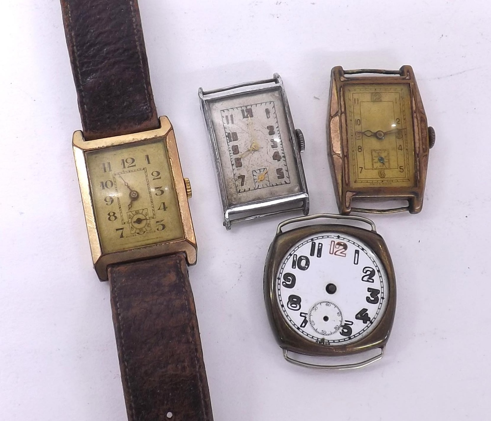 Lot 1926 - Two gold plated rectangular cased fixed bar gentleman's wristwatches (one at fault); together with a