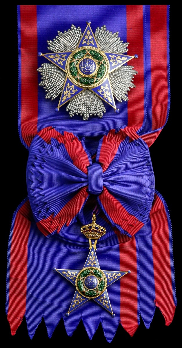 Lot 28 - Egypt, Kingdom, Order of Ismail, Knight Grand Cross set of Insignia, by Lattes, Cairo, sash Bad...