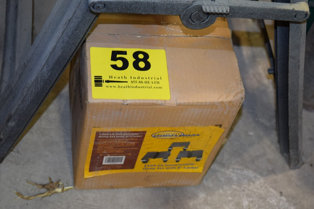 Lot 58 - SET OF (3) NORTHERN INDUSTRIAL TOOLS SNOWMOBILE DOLLY SET 1,500 LB CAPACITY 3'' CASTERS