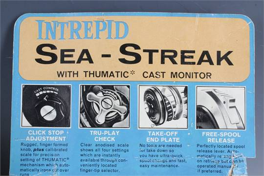 Intrepid sea-streak sea fishing reel and box, two wooden