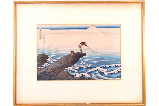After Hokusai Koshu Kajikazawa Colour woodblock print, framed and glazed...