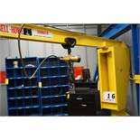 COBELL HOWE 1/2 TON JIB CRANE, 1/2 TON AIR HOIST, APPROX 12' ARM, 8' TALL