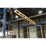 GORBEL COMPLETE SELF SUPPORTING BRIDGE CRANE SYSTEM W/ 1 TON AIR HOIST APPROX 27' X 38' X 15' TALL