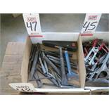 LOT - WOOD-SPLITTING WEDGE AND MISC CHISELS