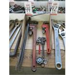 LOT - PIPE WRENCHES AND PRY BARS