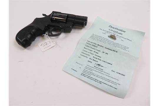 Revolver: An Arminius H W  38 special snub nosed police revolver