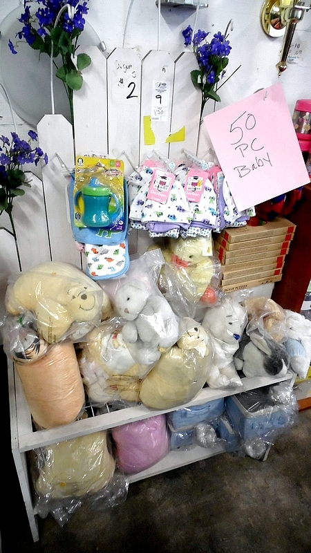 Lot 9 - ASSORTED BABY ITEMS w/ RACK