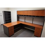 R.L Cushing L-Shaped Maple Auburn Slate Desk with Overhead Storage, Bookshelf & Lateral File