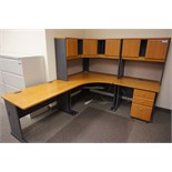Bush L-Shaped Desk with Overhead Storage