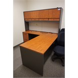 L-Shaped Maple Auburn Desk with Overhead Storage