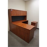 L-Shaped Desk with Overhead Storage