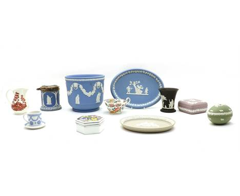 A large collection of ceramics, to include numerous pieces of Wedgwood jasperware in various colours, pin dishes, oval dishes