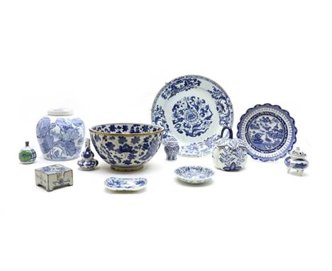 A collection of Chinese blue and white ceramics, to include a large dish, 31cm diameter, a bowl with brass mounts 24cm diamet