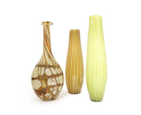 A modern glass vase, of baluster form, with inclusions of manipulated bubbles, together with a pair of striped glass vases, 4