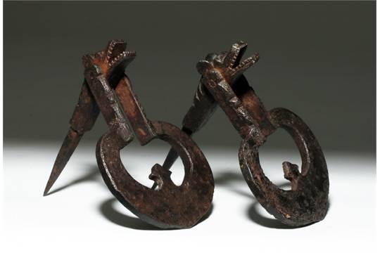 Europe, Spain, Ca. 17th Century CE. An Impressive Pair Of Spanish Iron  Animorphic Door Knockers,