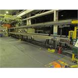 "86"" X 80' ADJUSTABLE EXIT CONVEYOR, (2) 18"" WIDE SECTIONS, (1) 12"" WIDE SECTION, ADJUSTABLE TO"