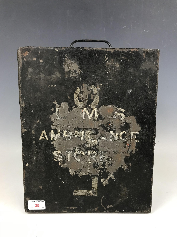 Lot 35 - An LMS ambulance stores tin trunk