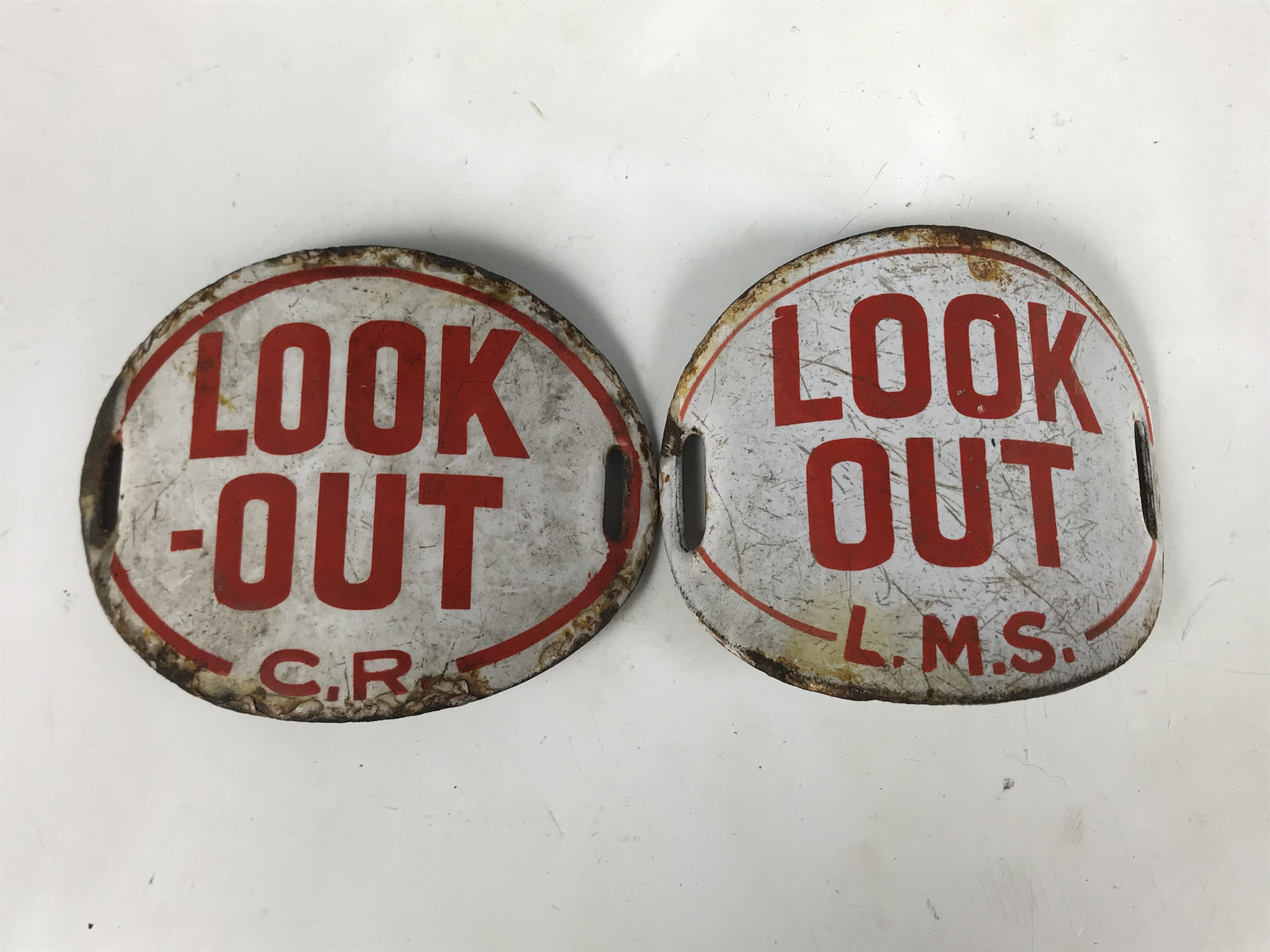 Lot 42 - Two railway 'Look-out' arm bands, LMS and CR
