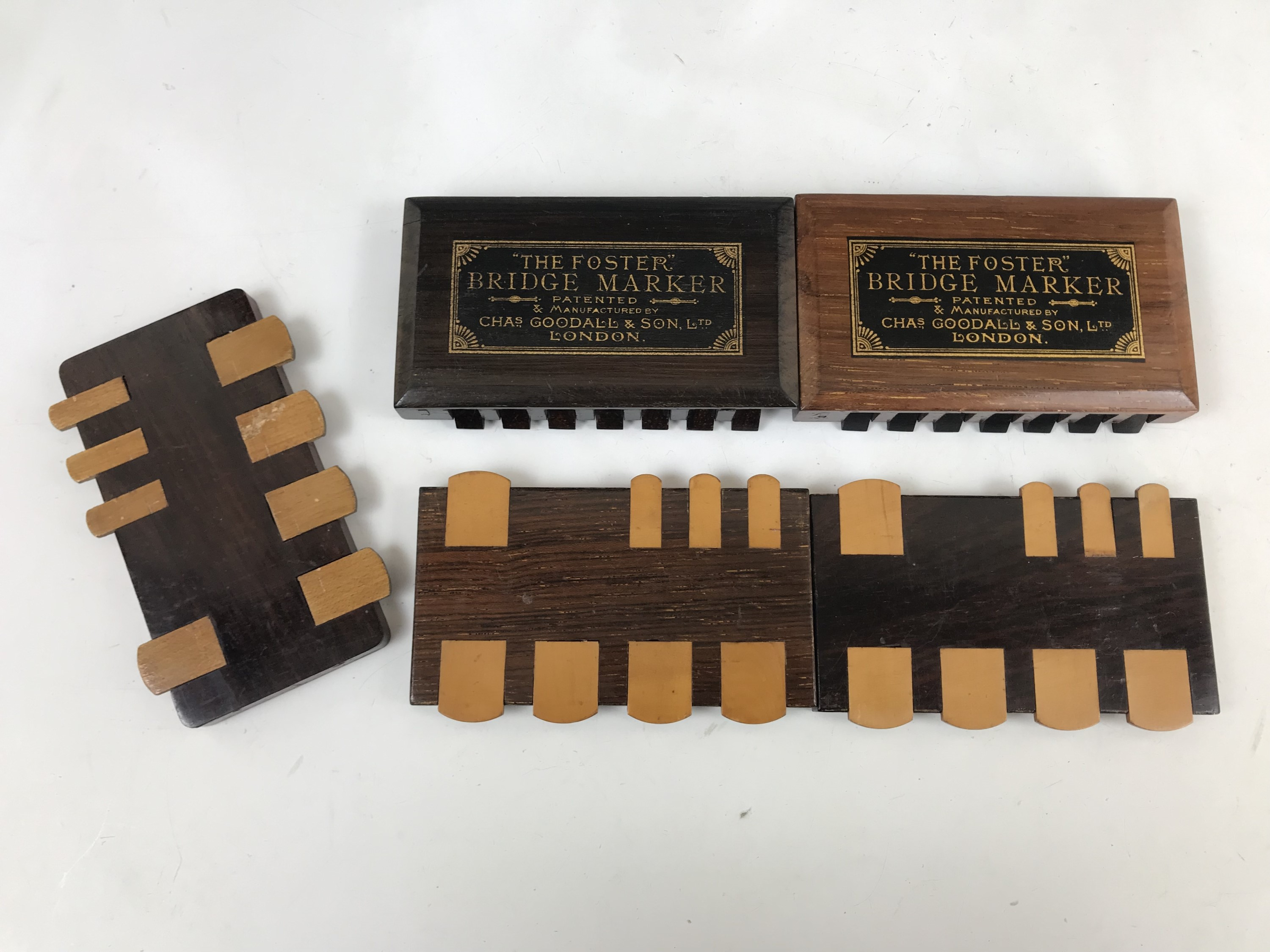 """Lot 29 - Late 19th Century wooden bridge and whist markers, including two patented """"Foster"""" bridge markers"""