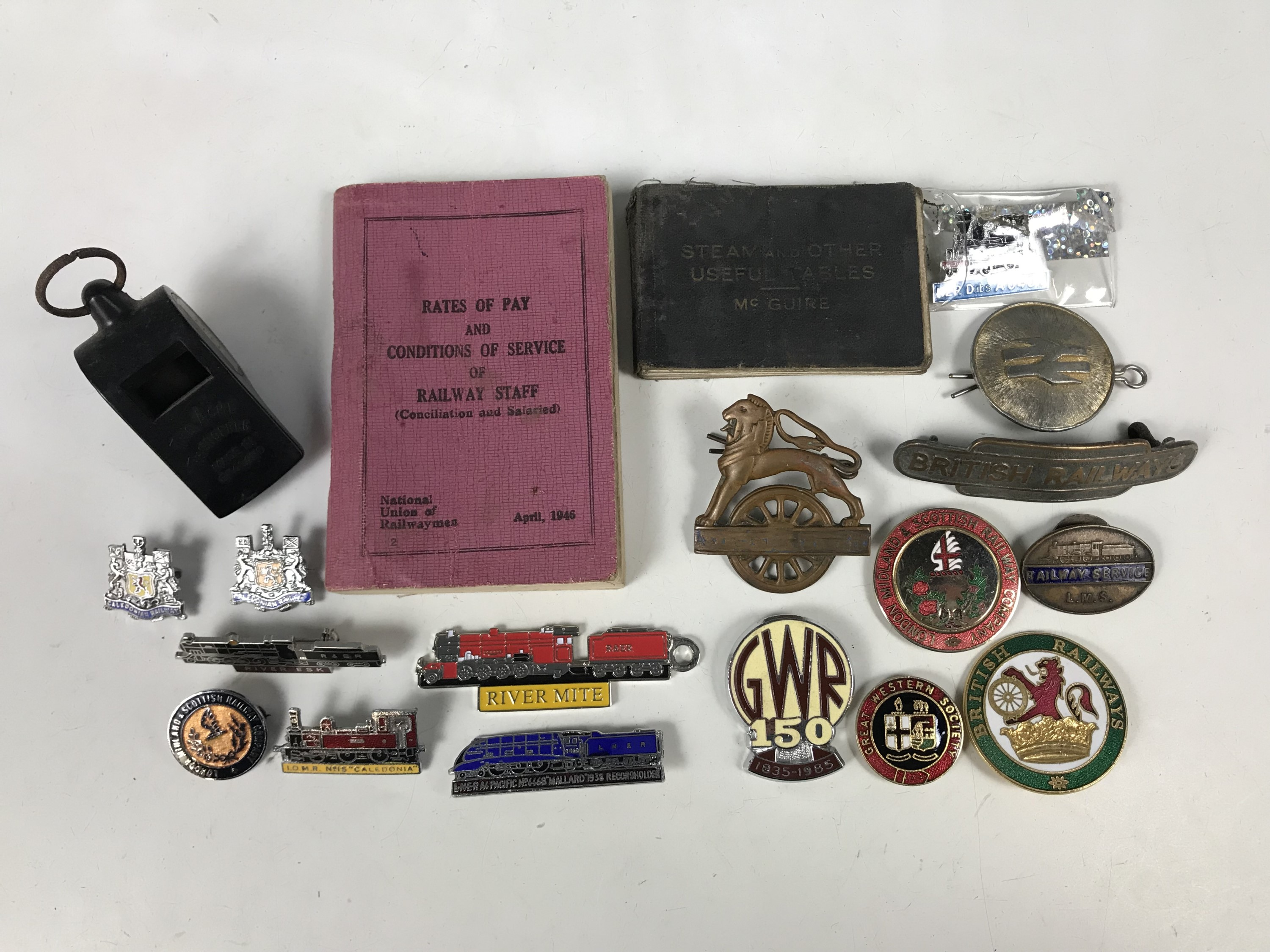 Lot 44 - Sundry British Railways badges and others, together with a British Rail whistle and pay book