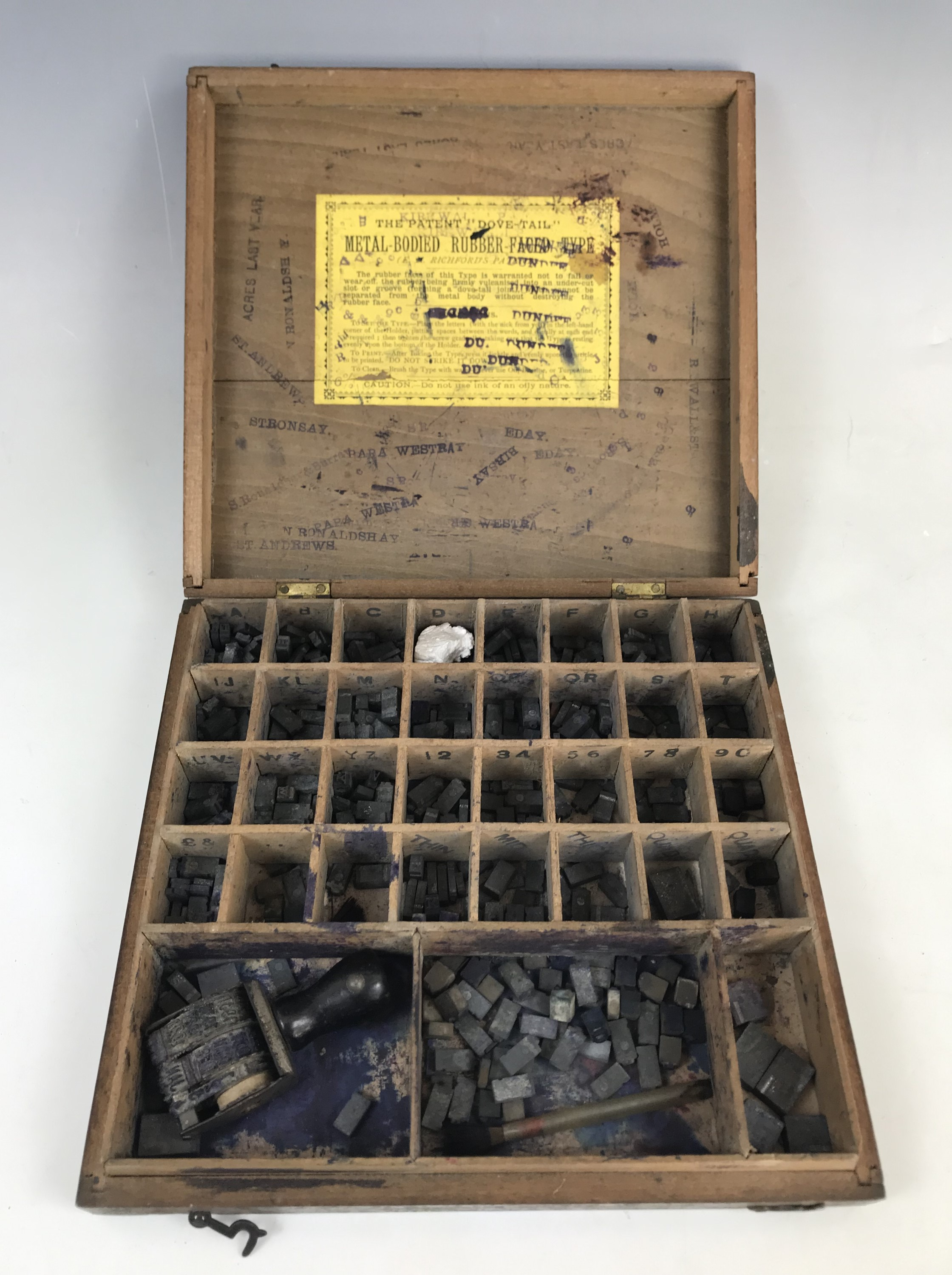Lot 48 - A Victorian Richfords patent 'Metal-bodied rubber-faced' printing type set