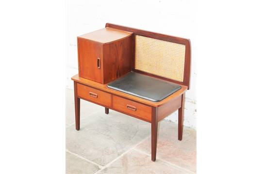 A danish teak telephone table with bergere back l82cm for Table bergere