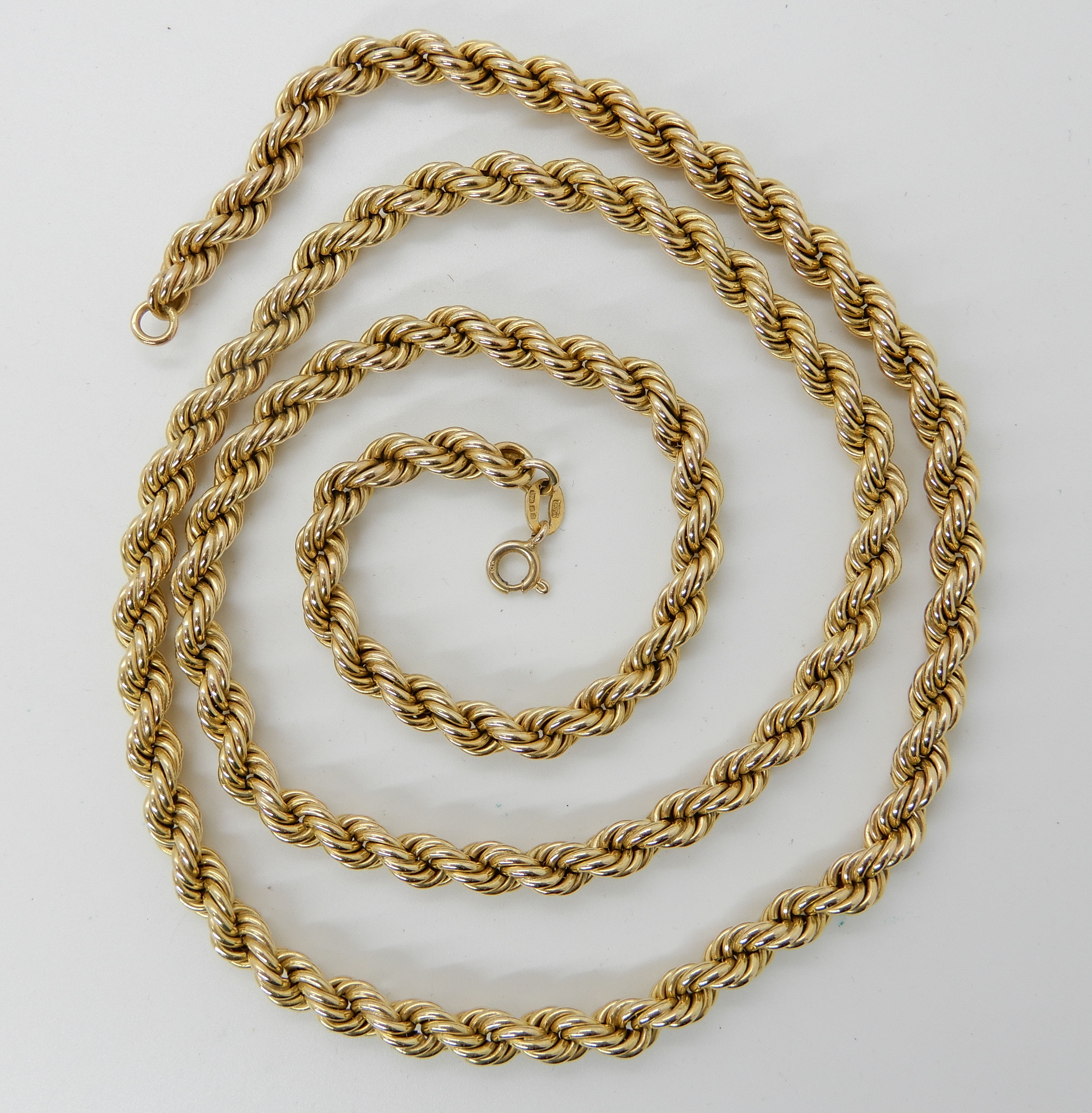 Lot 31 - A 9ct gold long rope chain, length 69cm, weight 23.5gms Condition Report: Available upon request