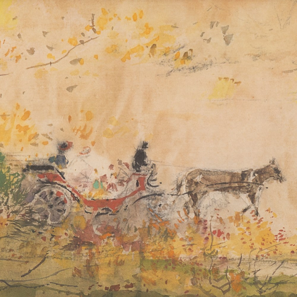 Chen Chi Watercolor Horse Drawn Carriages Usa