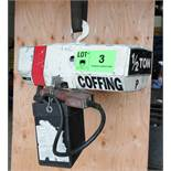 COFFING HALF TON CAPACITY ELECTRIC CHAIN HOIST WITH PENDANT CONTROL, 460V/3PH/60HZ, S/N: 10093