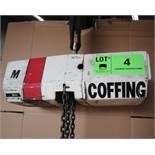 COFFING HALF TON CAPACITY ELECTRIC CHAIN HOIST WITH PENDANT CONTROL, 460V/3PH/60HZ, S/N: 100449