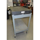 "Inspection Table with Rolling Cart Table Size 36 1/2"" x 24 1/2"" and 4 1/4"" Thick, Last Calibrated"
