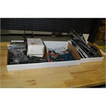 Box of Various Hex Bolts, Coolant Nozzle Attachments, Hand Saws, Grease Guns