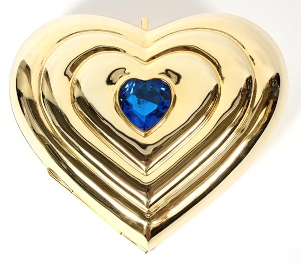 YVES SAINT LAURENT GOLD TONE HEART MINAUDIERE, W 6\u0026quot;: Gold tone ...