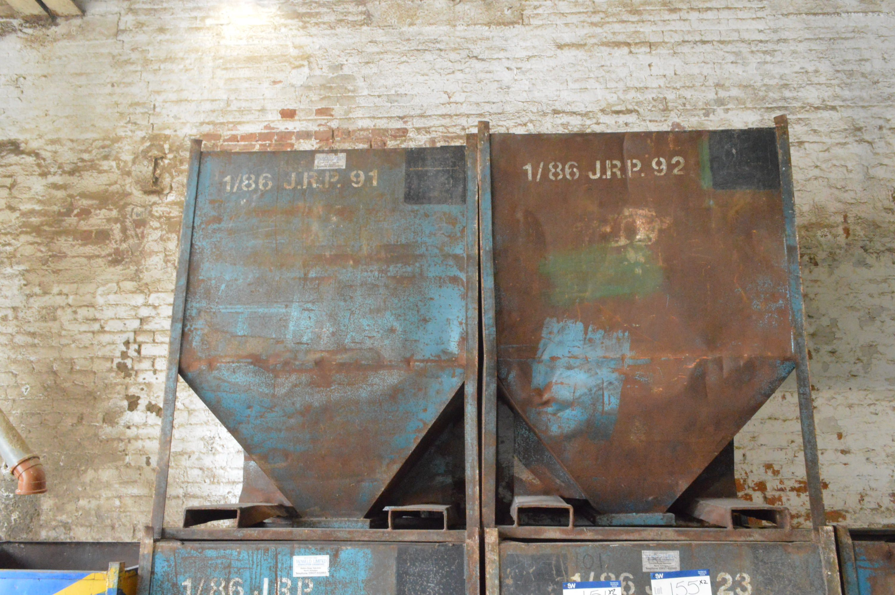 Lot 155 - Two x 1 tonne Hopper Bottom Tote Bins, each approx. 1.25m x 1.1m x 1.6m deep overall, with fork lift