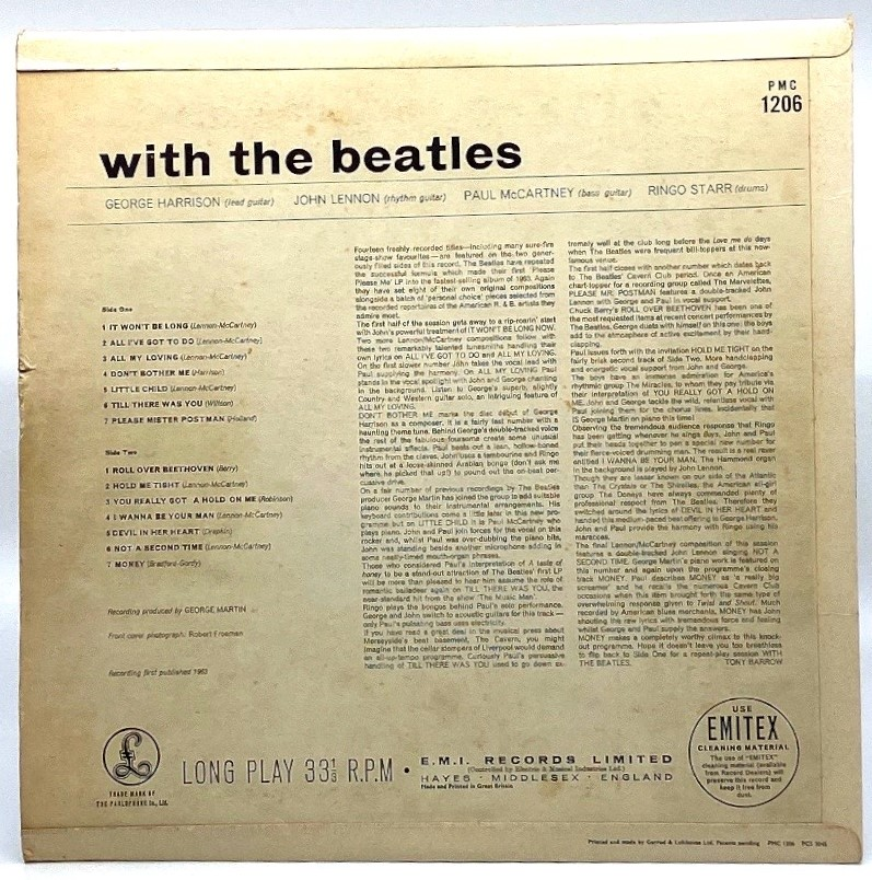 Lot 168 - Beatles LP 'With The Beatles' (PMC 1206 XEX 447(8)-7N) mono