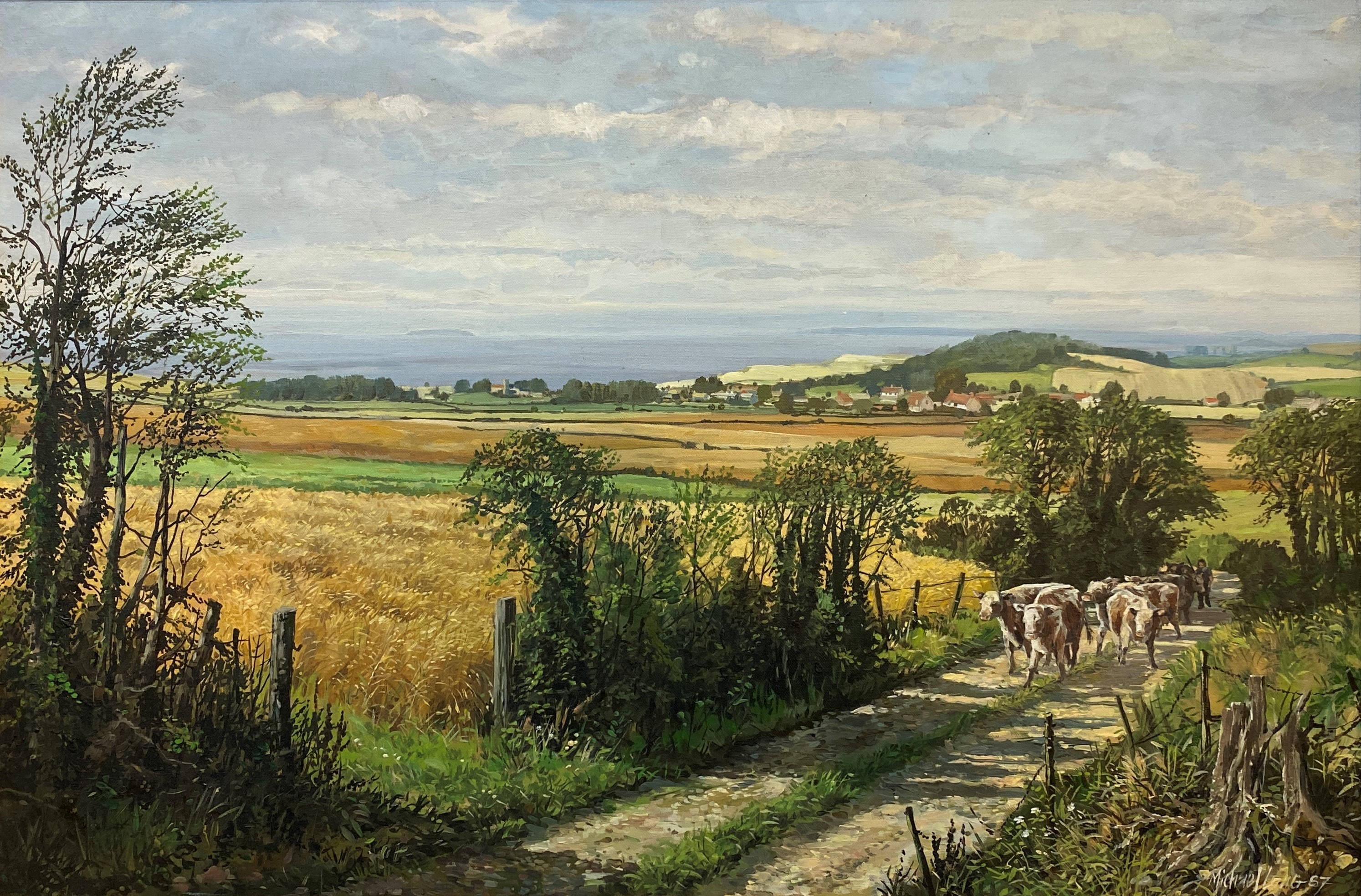 Lot 48 - Michael Long - 'The View to East Quantox Head, Somerset', acrylic on canvas, (49cm x 74.5cm), signed
