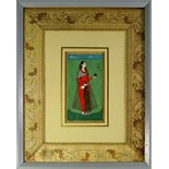 Lot 1044 - A Mughal lady, North India, 19th century, shown standing wearing red robes, within a floral border,