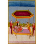 Lot 1046 - An Indian miniature painting of a lady seated under a hexagonal sun canopy, early 20th century,