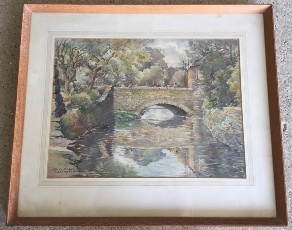 Lot 150 - Stanley W. Gibbs watercolour over pencil of Little Bridge, Cartmel, Ireland.